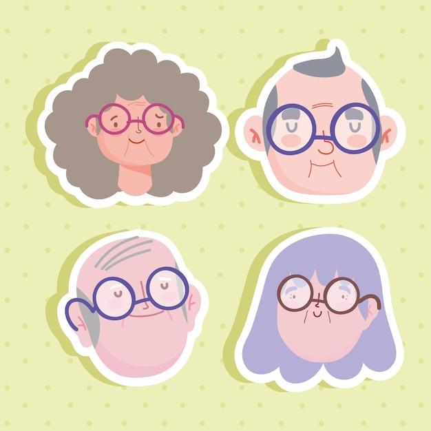 祖父母の顔セット