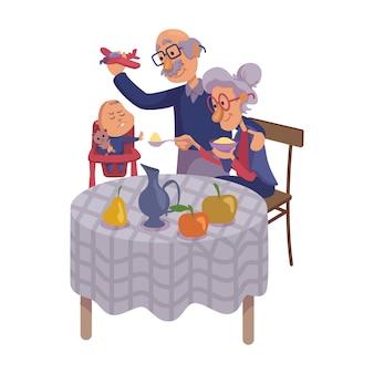 Grandparents feeding baby flat cartoon  illustration. kid refuse to eat. grandpa and grandma.