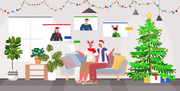 Grandparents in festive hats discussing with children in masks during video call coronavirus quarantine concept new year christmas holidays celebration living room interior  full length vect