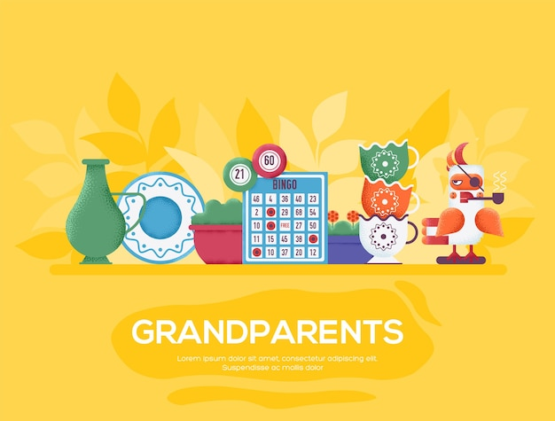 祖父母のチラシ、雑誌、ポスター、本の表紙、バナー。木目テクスチャとノイズ効果。