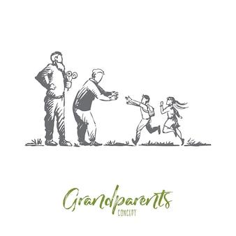 조부모, 손자, 가족, 세대 개념. 손으로 그린 할머니와 할아버지 개념 스케치와 함께 행복 한 큰 가족.