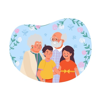 Grandparents and grandchildren at floral backdrop flat vector illustration