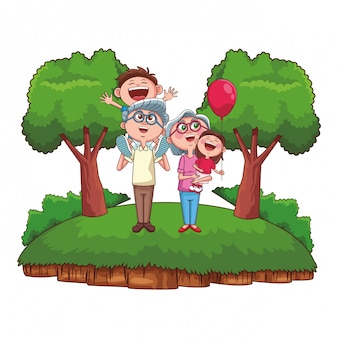 Grandparents and grandchildren park
