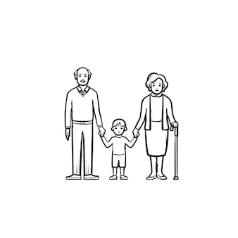 Grandparents and grandson hand drawn outline doodle icon