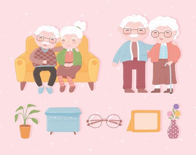 조부모 아이콘 세트