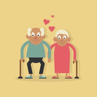 조부모 사랑과 손을 잡고 지팡이