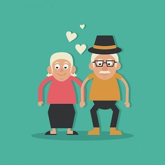 조부모 사랑과 손을 잡고 모자