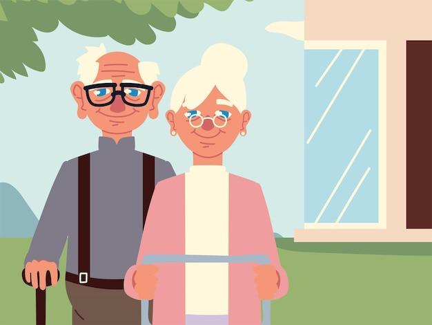 뒤뜰에서 조부모