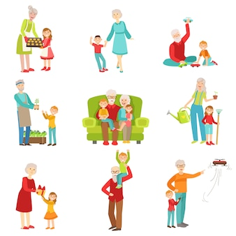 Grandparents and kids having fun together set of illustrations