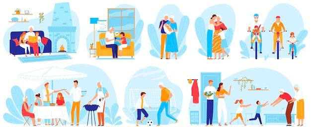 Grandparents and kids vector illustration set.