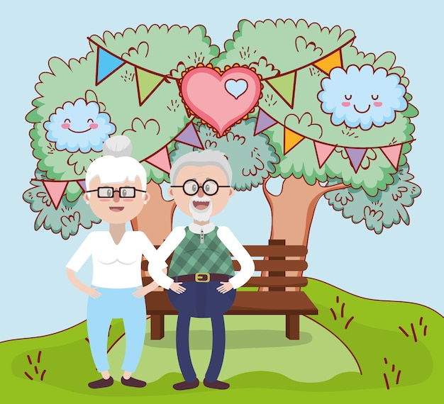 Grandparents love relationship cartoon