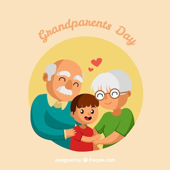 Grandparents loving their grandson