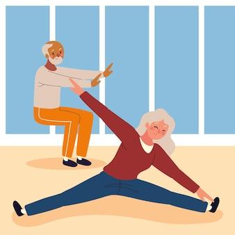 Бабушка и дедушка делают упражнения