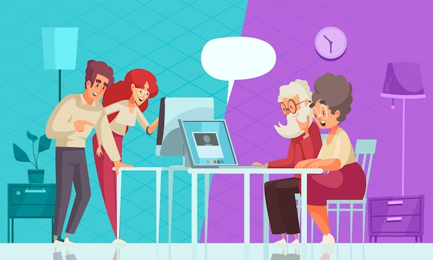 Grandparents and modern technology illustration with laptop using flat