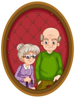 Картина бабушка и дедушка на деревянной раме