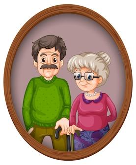 나무 프레임에 조부모 사진