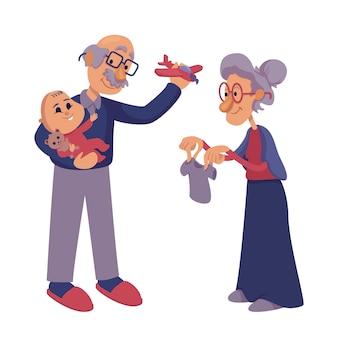 Бабушки и дедушки, играя с младенческой плоской карикатурой. старшие бабушка и дедушка любящие внука. готовый к использованию шаблон 2d персонажа для рекламы, анимации, печати. изолированный комический герой