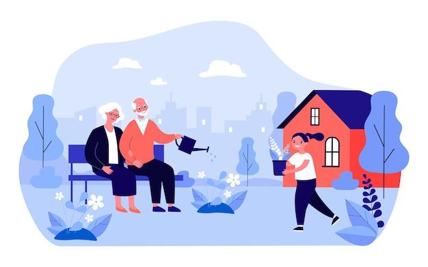 조부모는 벤치에 앉아 뒤뜰에서 꽃에 물을 줍니다. 노인 부부 평면 벡터 일러스트 레이 션에 화분을 가져오는 소녀. 배너, 웹 사이트 디자인 또는 방문 웹 페이지에 대한 원예 개념