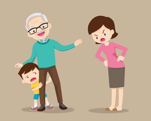 조부모는 어머니가 꾸짖는 아이를 달래줍니다. 할아버지는 어머니에 의해 꾸짖다에서 손자를 돌봐