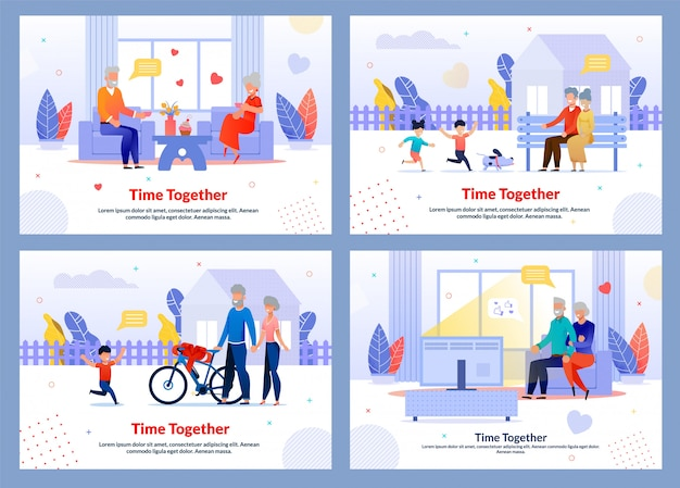 Grandparents spend time along and with kids template set