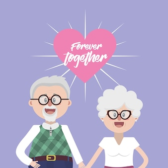 Grandparents together with glasses and hairstyle