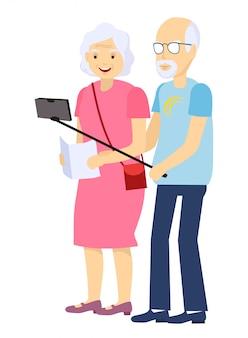 Бабушки и дедушки туристы. пожилая пара вектор. селфи. дедушка и бабушка. эмоции лица. счастливые люди вместе. изолированные плоский мультфильм иллюстрации