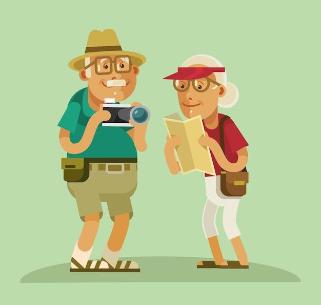 Иллюстрация туристов бабушек и дедушек