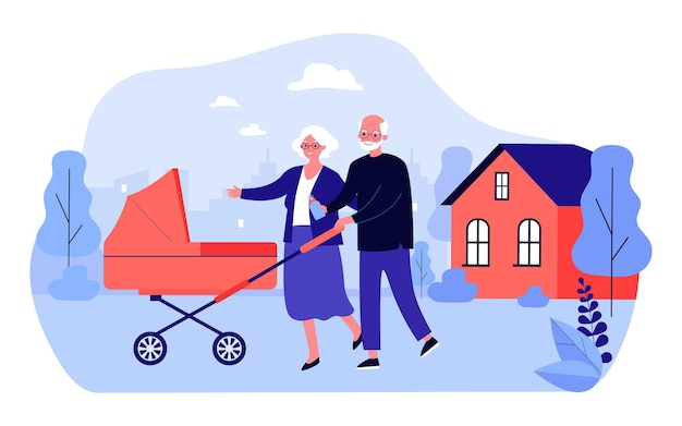 Grandparents walking with stroller in courtyard of house. flat vector illustration. elderly man and woman walking with their newborn grandson or granddaughter. family, childhood, rest, care concept