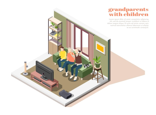 Grandparents with children composition of two elderly people and young girl taking selfies together isometric