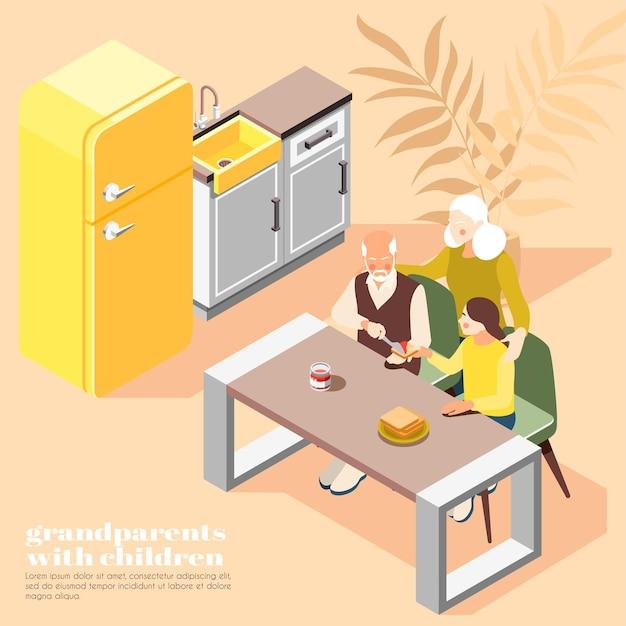 子供を持つ祖父母は家庭の台所のインテリアで朝食をとっているフレンドリーな家族の等角