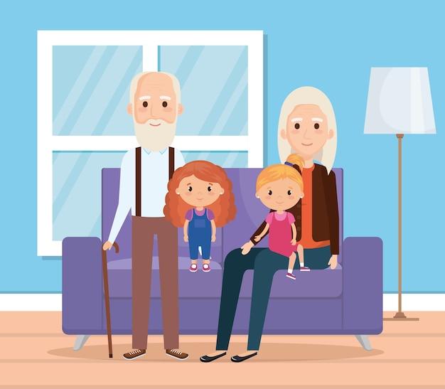 Grandparents with grandchildren in the livingroom