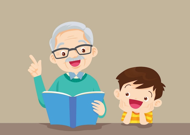 Grandparents with grandchildren reading
