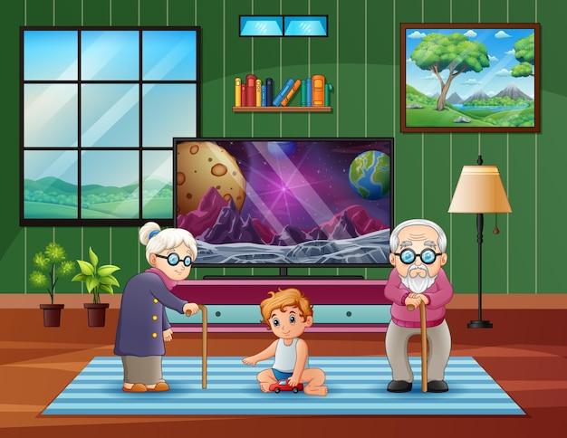 Бабушка и дедушка с внуками в гостиной иллюстрации