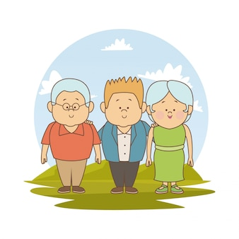 Grandparents and young boy