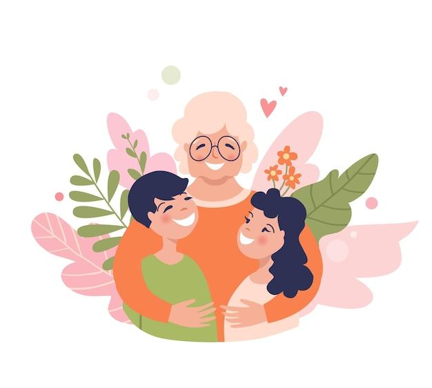 할머니와 손자들은 웃는 아이들과 함께 행복한 할머니를 껴안고 있습니다.