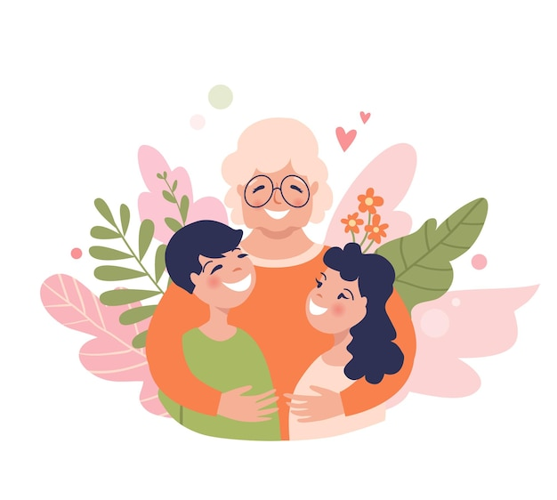 Granny and grandchildren are hugging happy grandmother with smiling kids senior insurance