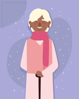 Granny with scarf and walk stick