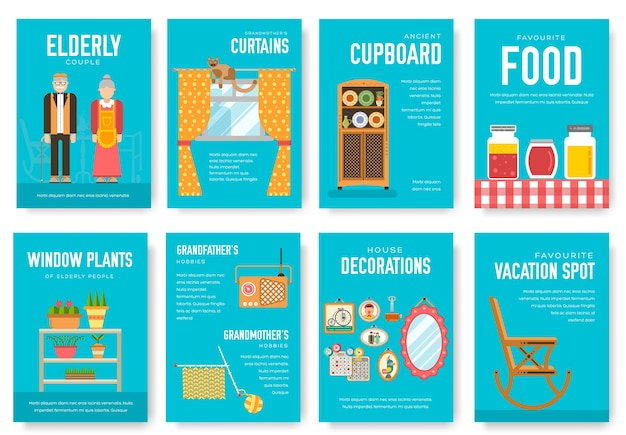 Grannys day brochure cards set illustration