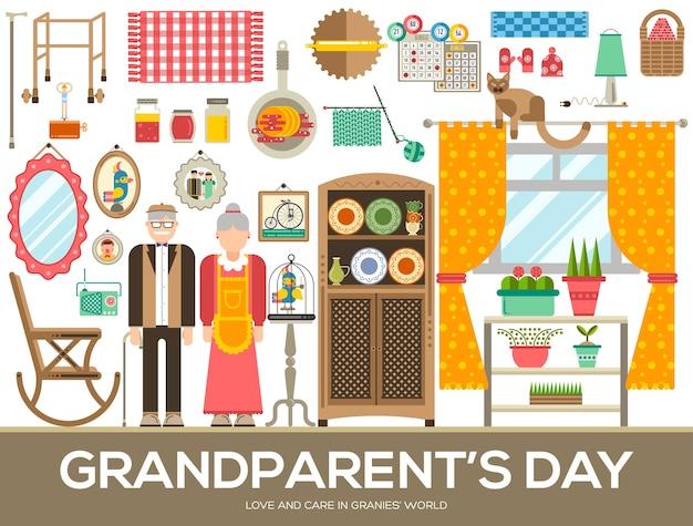 おばあちゃんの日のアイコンデザインイラストセット