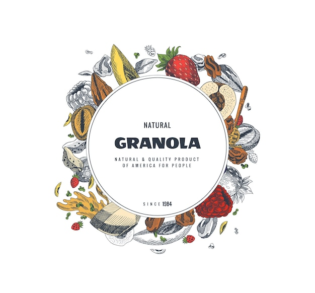 グラノーラパッケージデザインテンプレート。刻まれたスタイルのイラスト。さまざまなベリー、フルーツ、ナッツ。