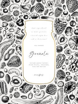 Granola vintage . engraved style healthy breakfast illustration. homemade granola with different berries, cereals, dried fruits and nuts frame. healthy food template with golden elements