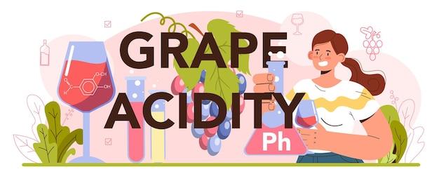 Grape acidity typographic header. wine production. grape wine