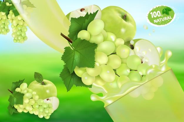 Виноградный и яблочный сок и всплеск.