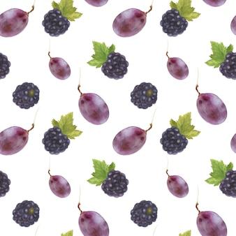 Бесшовный узор из винограда и ежевики