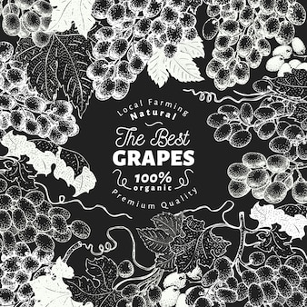 Grape berry background. hand drawn vector fruit illustration on chalk board. engraved style retro botanical