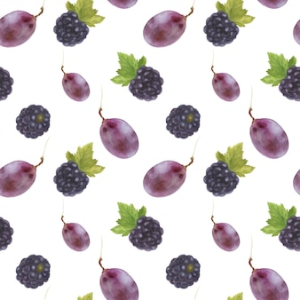 Grape and blackberry seamless pattern