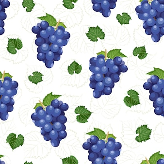 Grape bunch seamless pattern on white background with leaves
