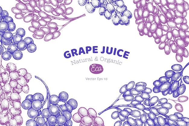 Шаблон оформления винограда. рисованной векторные иллюстрации ягод винограда. гравированный стиль ретро ботанический баннер.