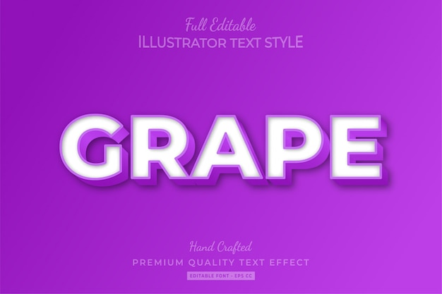 Grape embossed editable 3d text style effect premium