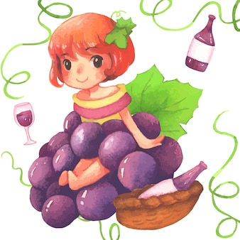 Grape girl watercolor painting